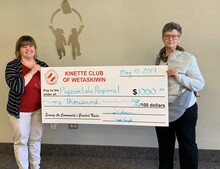 Cynthia Blackmore  presented the cheque on behalf of the Kinettes Club.